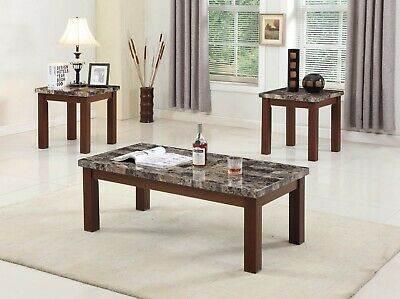 The Room Style 3pc Living Faux Marble Top Wood Coffee