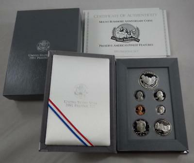 1991 Prestige Proof 7 Coin Set w/ Mt Rushmore Commem Silver $1 Complete CB519