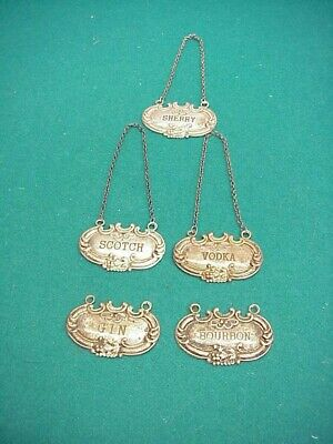 Vintage Wallace sterling 5 Liquor tags label Scotch Sherry Vodka Gin bourban