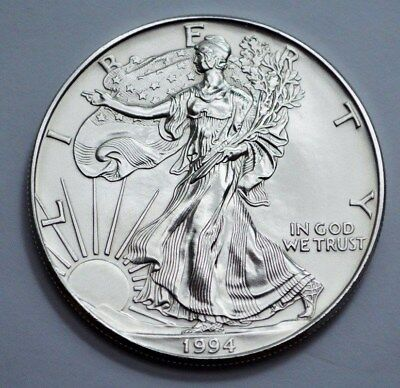 1994  American Silver Eagle Dollar 1 oz .999 Fine Silver MS.  Uncirculated!