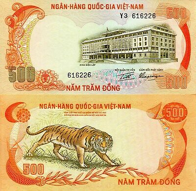 VIETNAM SOUTH 500 Dong Banknote World Paper Money aUNC Currency Pick p33a Tiger