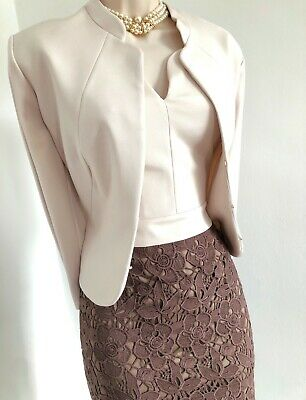 BNWOT £300 Audrey/Jackie/50s/60s PHASE EIGHT dress+jacket: nude/brown lace 18