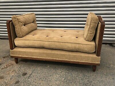 Circa 1900 French Walnut Campaign Bed, Day Bed, Sofa, Gold Chenille, Excellent C