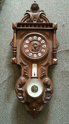 Antique French Carved Walnut Wall Clock