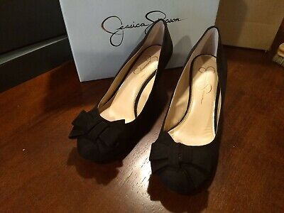 57cdc45f859 Jessica Simpson Womens Black Suede Bow Wedge Pumps Heels Size 7.5 Shoes