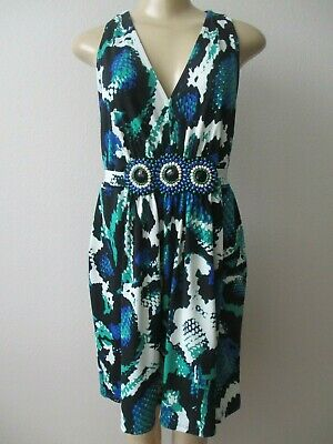 Eci Multi-Color Geometric Design Beaded Mini Dress Size Xl - Nwt