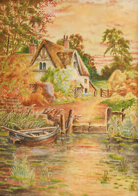 Beautiful Antique Watercolour, A Thatched Cottage Beside a River