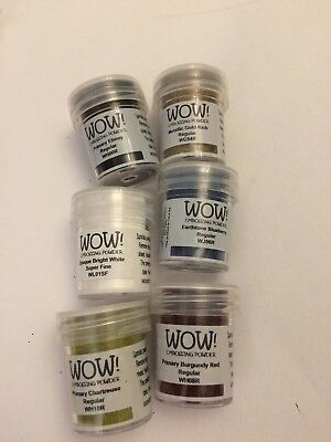 WOW EMBOSSING POWDER 6 X 15ML POT RUBBER STAMPING Se7 1