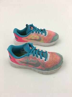 quality design d06b3 92c00 GIRLS YOUTH NIKE Free RN 2017 Running Shoes 904262-100 Pink/Blue Sz 2 Youth