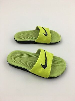 eea48764cd7e3 Nike Kids Kawa Slide GS PS Volt Black Kids PreSchool Sandals 819352-700 Size