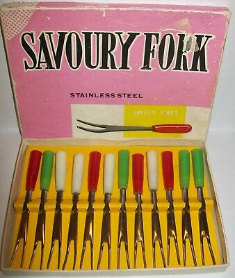 VINTAGE BOXED SET OF 12 SAVOURY/COCKTAIL FORKS Stainless steel/plastic handles