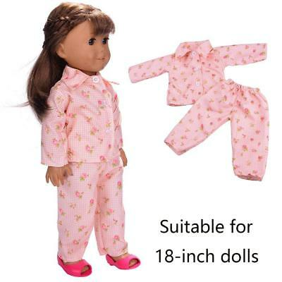 1Set Doll Clothes Pajames Shoes 18inch Girl Flowers Floral Pajamas Sleepwear