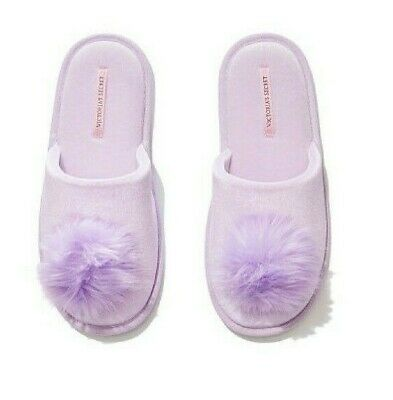 ebb0c4a961a VICTORIA S SECRET Lilac Pom Pom Slippers Size M 7-8 Limited Edition ...