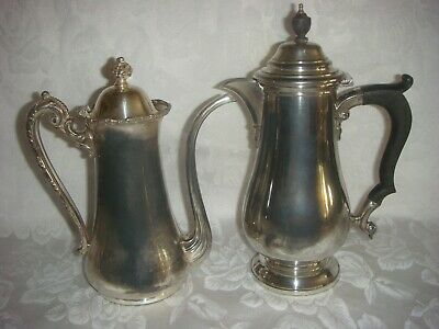 2 ANTIQUE SILVER PLATE CHOCOLATE OR HOT WATER POTS CIRCA 1800's
