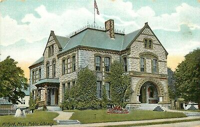 c1907 Printed Postcard; Public Library, Milford MA Worcester County unposted