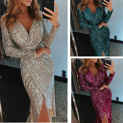 701ac5d1d84cd Womens V-neck Jag Leg Sequins Sexy Gorgeous Evening Dress Bodycon Party  Chic New