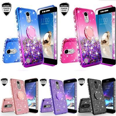 For LG K30/Premier Pro LTE Liquid Shock Proof Glitter Bling Case+Tempered Glass
