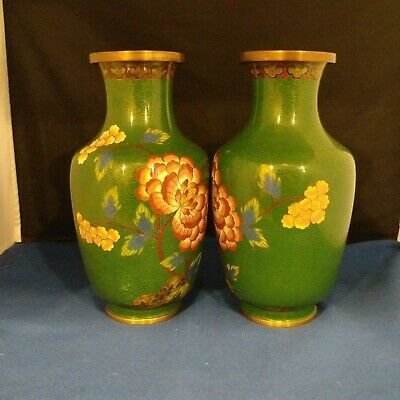 "Vintage Pair of copper or brass Cloisonne green Vases flower painted 4""L 7.25""H"