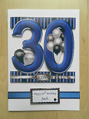 Hand Made Male 30th Birthday Card Can Be Personalised