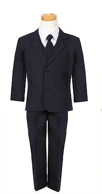 952f14fe3fd1 Boys Navy formal suit Fancy wedding Christmas Holiday set long tie vest  pants