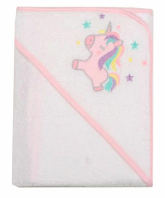 Towel Hooded Output Swim For Baby White With Motif Unicorn