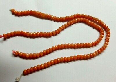 """Antique Vintage Coral Beads 3.5 mm Drilled 7 1/8"""" Long  Strand Rope 60+ pc YY814"""