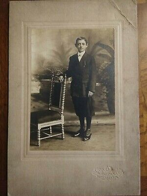 Antique Photo Cabinet Card HANDSOME YOUNG BOY TEEN FASHION . Newport KY.