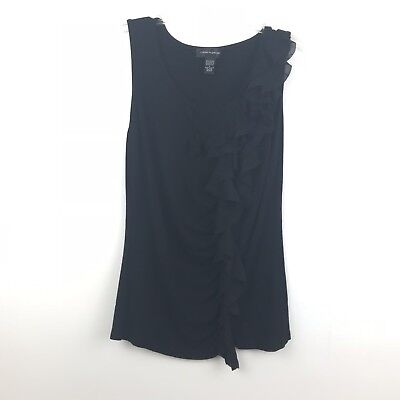49e92120fb4210 Cable   Gauge Womens Size Large Black Ruffle Detail Stretch Sleeveless Tank  Top