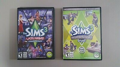 LOT OF 2 The Sims 3 Expansion Packs (High-End and Late Night) DVD's for PC  / MAC
