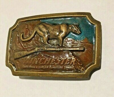 Winchester Gun Belt Buckle Cougar Mountain Lion Rifle Indiana Metal Craft 1976