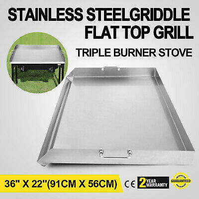 Stainless Steel Griddle Flat Top Grill Triple Burner Griddle BBQ Stove