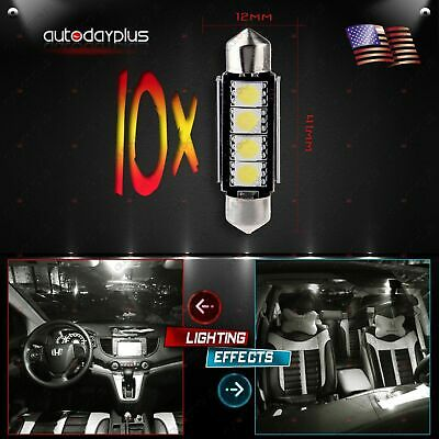 10Pcs Xenon White 5050 SMD LED 42mm Festoon CANBUS Interior Bulb Dome Map Light