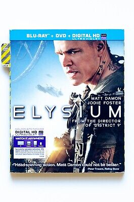 Elysium (Two Disc Combo: Blu-ray / DVD) Brand New Factory Sealed (Torn Slipcase)