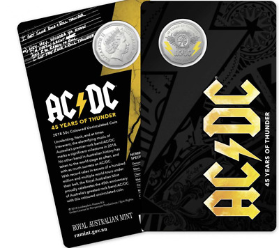 Australia 2018 50c Fifty Cent  AC/DC 45 Years Of Thunder Coloured UNC Coin