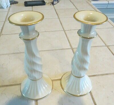 Vintage Lenox RICHMOND COLLECTION Pair of Candlesticks Gold Trim GREAT CONDITION