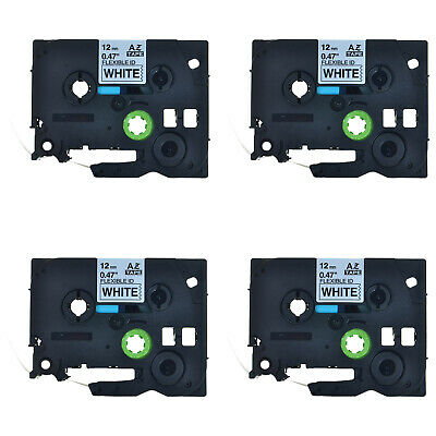 4PK Black on White Flexible Label Tape For Brother P-Touch TZ TZe-Fx231 12mm*8m