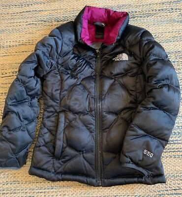 4839061e7c5 THE NORTH FACE GIRLS DOWN COAT JACKET SIZE Med 10 12 BLACK PURPLE 550 FILL