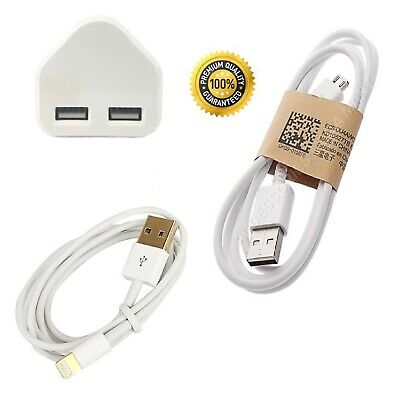 Fast Speedy Dual 2 Port twin USB Charger 3 Pin Mains Wall Plug Adapter UK