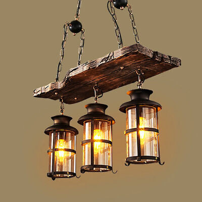 Antique Wood Beam Hanging Glass Lantern Pendant Lighting Dining Chandelier Lamp
