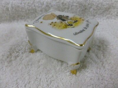 "Vtg Holly Hobbie Porcelain Trinket Box ""Happiness is having someone to care for"""