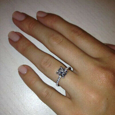 2.00 Ct Princess Cut Diamond Solitaire With Accents Ring 14k White Gold Finish