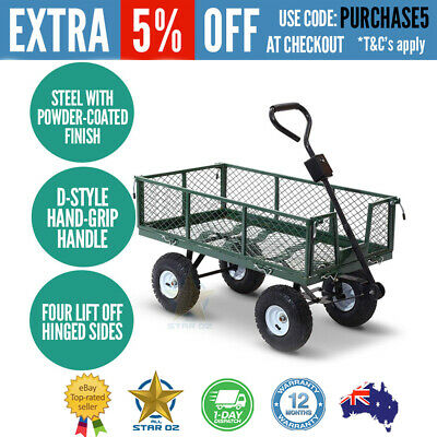 Mesh Garden Steel Cart Outdoor ATV Trailer Wagon Wheelbarrow Yard Tipping- Green