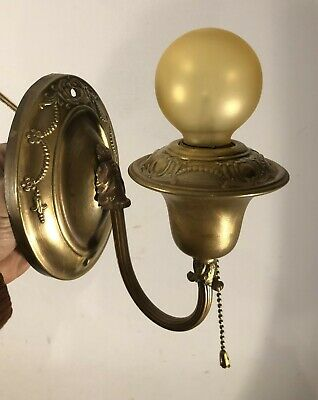 Antique vtg 1920's bare bulb oval canopy sconce light fixture rewired