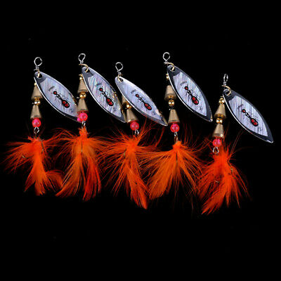 1pcs Lure Feather Hook Baits Sequins Fishing Lures Spinner HOT Bass Rotating