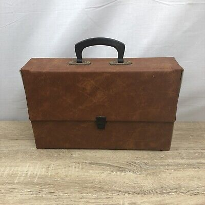 Vintage Cassette Carry Case Holder Brown Holds 60 Double Sided