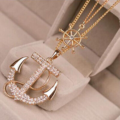 Double inlaid diamond Fashion Necklace Naval wind Sweater chain Anchor