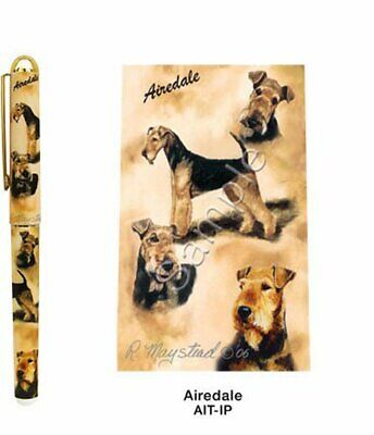 New Airedale Terrier Dog Designer Pen in Gift Box By Ruth Maystead Dogs