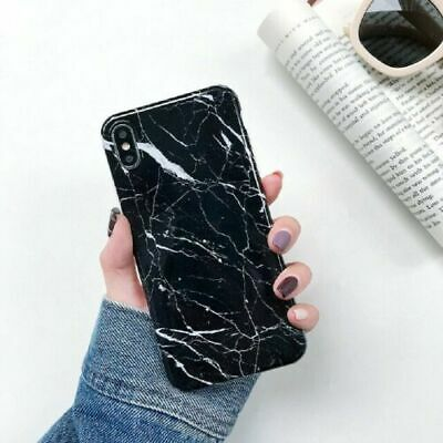 Soft Pastel Marble Pattern Cover Case Shockproof For iPhone 8 Plus Black New