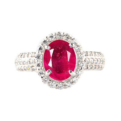 Rea 14KT White Gold 2.20Ct Natural Burmese Red Ruby EGL Certified Diamond Ring