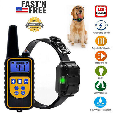 Dog Shock Training Collar Waterproof Rechargeable Remote 800 Yard Electric LCD